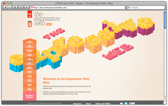 HTML5 and CSS3 - Adobe - The Expressive Web - Beta 2