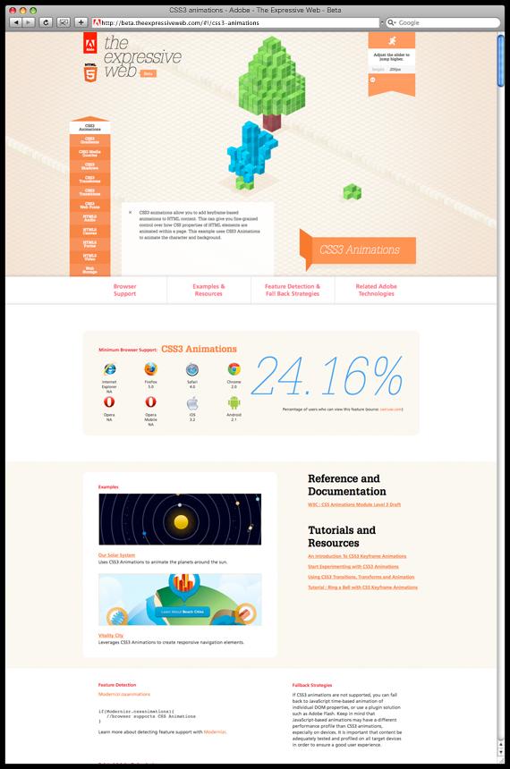 CSS3 animations - Adobe - The Expressive Web - Beta