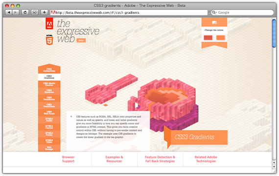 CSS3 gradients - Adobe - The Expressive Web - Beta