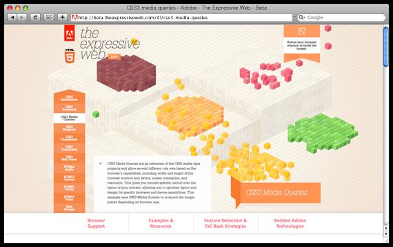 CSS3 media queries - Adobe - The Expressive Web - Beta