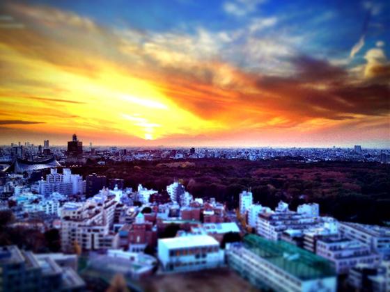 iPhone4Sで撮った神宮前オフィス(18F)からの夕焼けまとめ 19